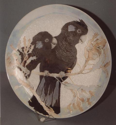 cockatoo's handpainted original design on porcelain