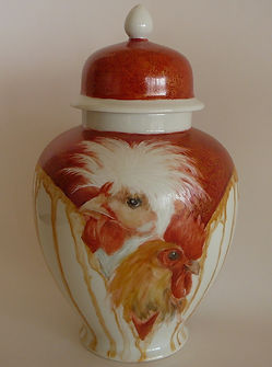 Hand painted Ginger Jar featuring Year of the Fire Rooster