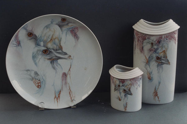 CASSOWARY'S hand painted on China