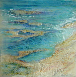 coastal scene in encaustic painting