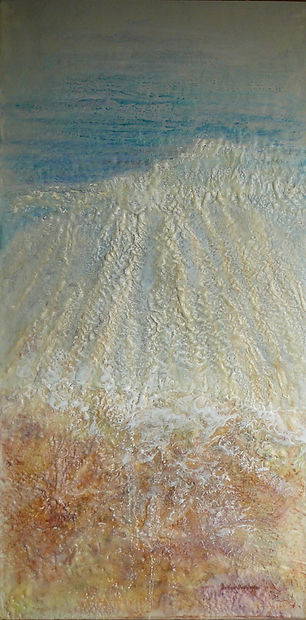 Water receding abstract painting in encaustic