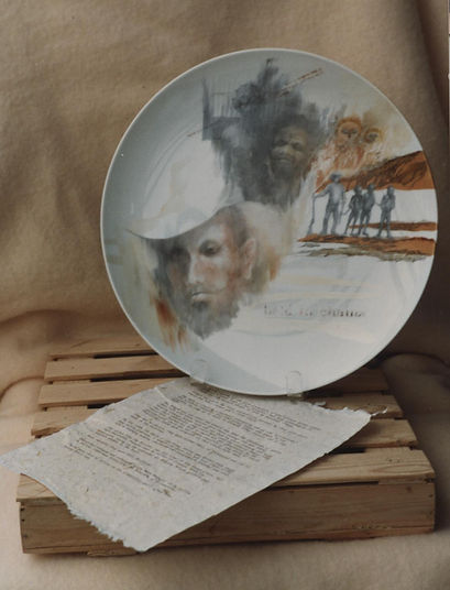 Portrait and abstract scene handpainted on porcelain plate