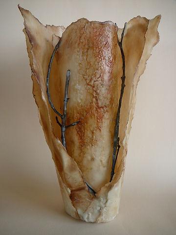 Sculptural vessel in encaustic