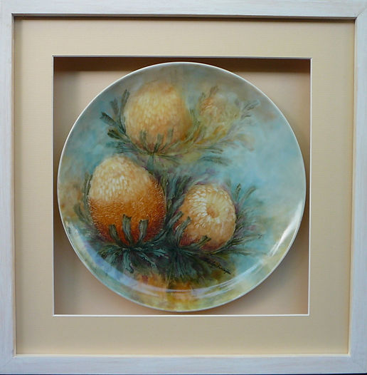 Banksia chinapainted on plate framed