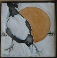 magpies painted in encaustic