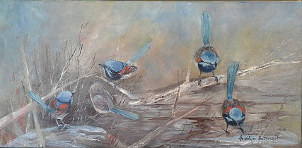 Wrens painted in acrylic on canvas