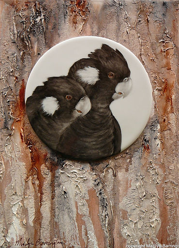 White Tailed Cockatoos handpainted tile on Acrylic canvas