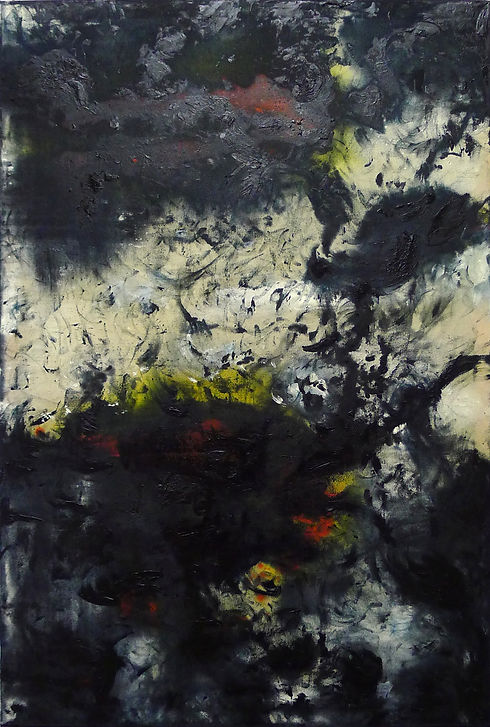 Stolen fire, oil and pigments on canvas, 120 x 80 cm