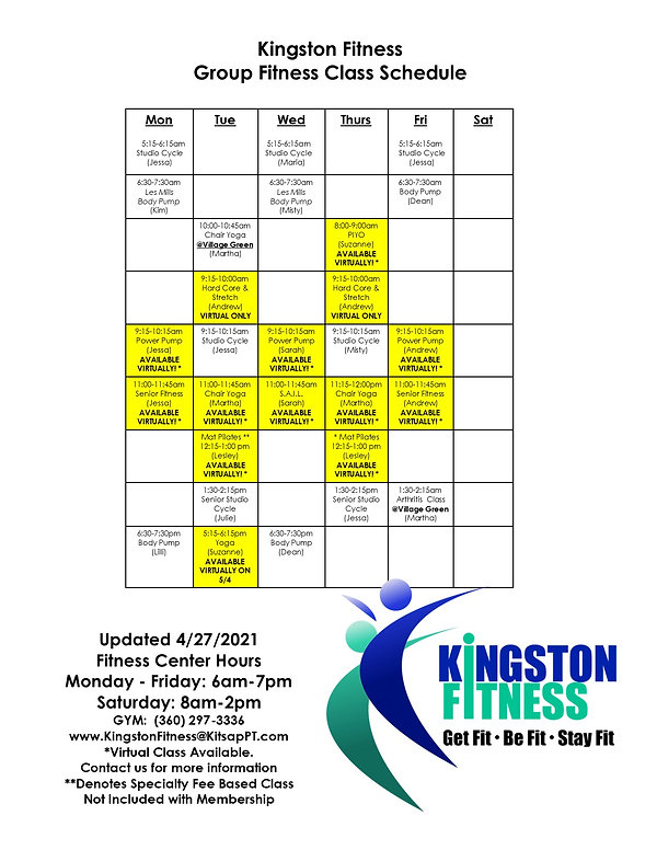KF GF & Virtual Class Schedule 4-27-2021