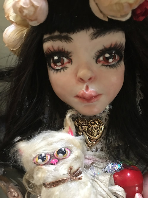 Luella and Kitty Little Witch OOAK Art Doll Hand sculpted Figurine Strega
