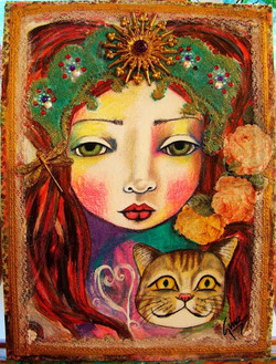 SOLD* Girl and cat