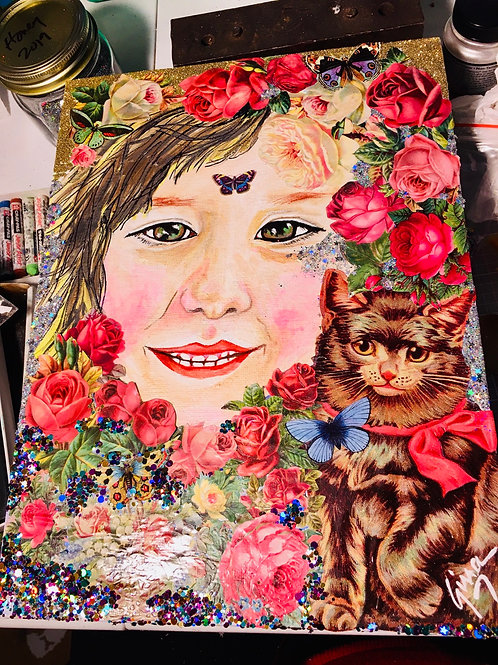 Custom Order for Portrait Mixed Media Painting
