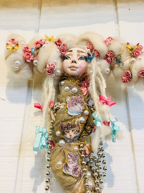 Cat Lover Art Doll OOAK Fine Porcelain Hand Sculpted Fairy Fantasy Magic
