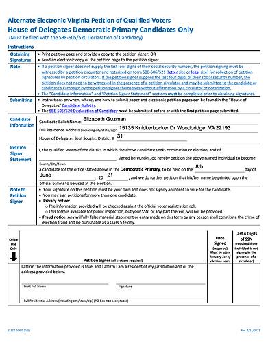 Fillable VA Ballot Petition for Delegate