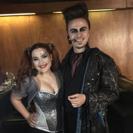 """Backstage photo from LINK Theatre's """"Saucy Jack and the Space Vixens,"""" in which I played the titular role of Saucy Jack. Probably my favourite hairstyle of all time. Pictured next to me is the lovely Nicola Klein as Anna Labia."""