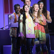 """Press Photo from Victoria Playhouse Petrolia's """"Summer of '69,"""" a musical revue in which my five castmates and I traversed the variety of classics and hits released in 1969. Pictured left to right are my groovy gang: Justin Bacchus, Christine Mckeon, Melanie Paiement, and Aaron Tessis."""
