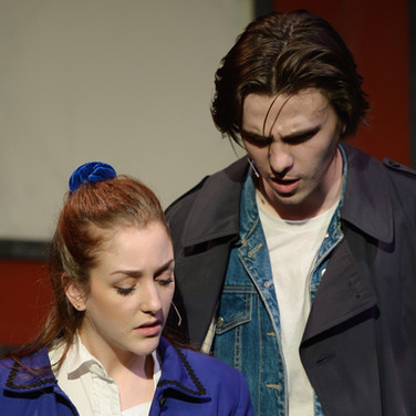 """Press photo from Musical Theatre Productions' """"Heathers: the Musical"""" featuring myself as JD and Laura Martineau as Veronica."""