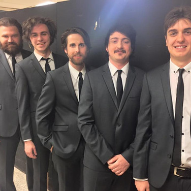 """Backstage photo from Pacheco Theatre's """"Manuel,"""" the world premiere of a play about the life of Richard Manuel (the keyboard player for The Band). Featuring me in the titular role, and these strapping gents as the rest of The Band."""