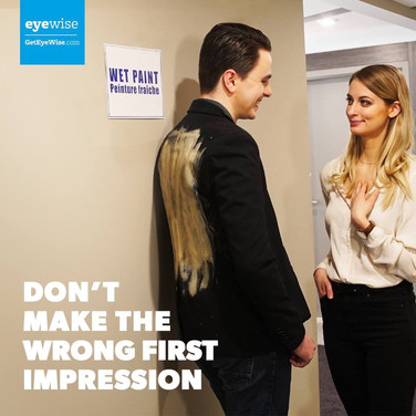 A photo for a digital campaign from the Canadian Association of Optometrists, featuring me making some questionable wardrobe choices, and the wonderful Siobhan Latimer.