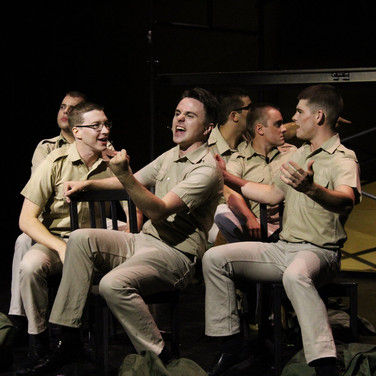 """Production photo from Allswell Productions' """"Dogfight,"""" in which I played the dream role of Eddie Birdlace, pictured here with my fellow marines."""