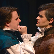 """Production photo from Musical Theatre Productions' """"The Little Mermaid,"""" featuring Prince Eric (me) and Grimsby (Matt Butler) in a lover's quarrel."""