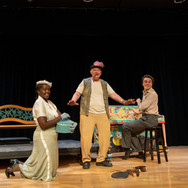 A still from Valse Sentimentale at the Newmarket National Play Festival (2019). Pictured with me are the illustrious Gwyn Beaver (left) and Dan Karpenchuk (right).