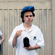 """Press photo from """"The Year and Two of Us Back Here"""" in the Hamilton Fringe festival, in which I portrayed Isaac. Written & directed by Michael Kras. Featuring the brilliant Sarah Hime (pictured) as Rain and more noodles than I could fit in my mouth"""
