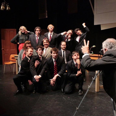 """Press photo from Calithumpian Theatre Company's """"History Boys,"""" in which I played the role of Scripps. A role very near and dear to my heart, as you can tell by the face I'm making (back row, 2nd from the left)."""