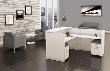 R09A: White L-shaped reception desk