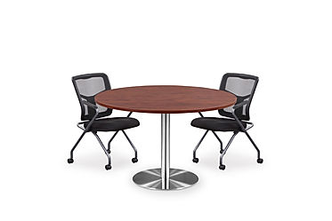 "MPT02D: 48"" Round Table with Brushed Base"
