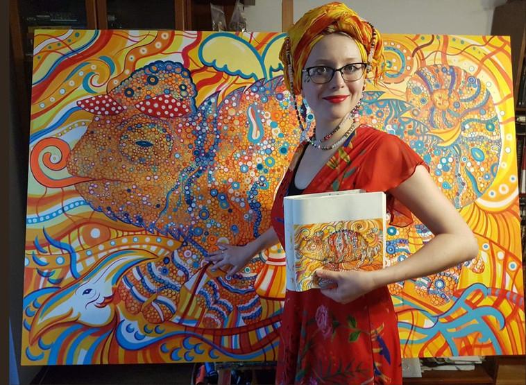 Psychedelic Chameleon Mural