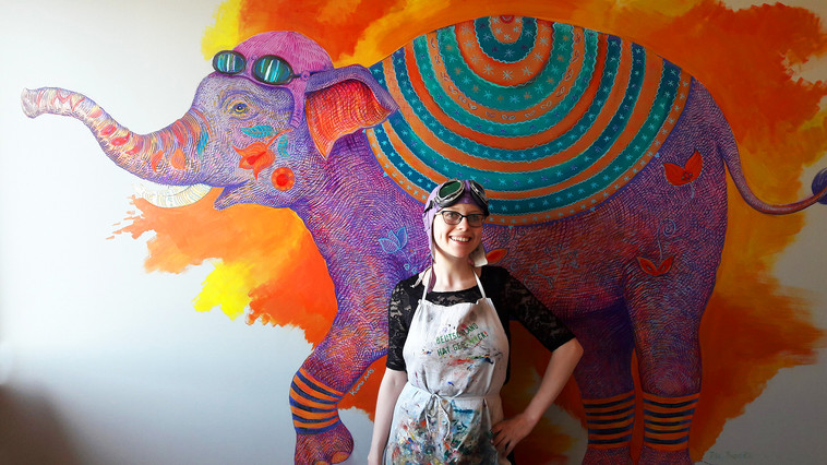 Elephant Mural Painting