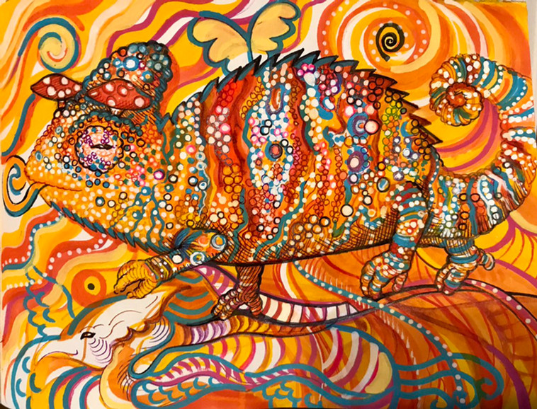 Psychedelic Chameleon Painting