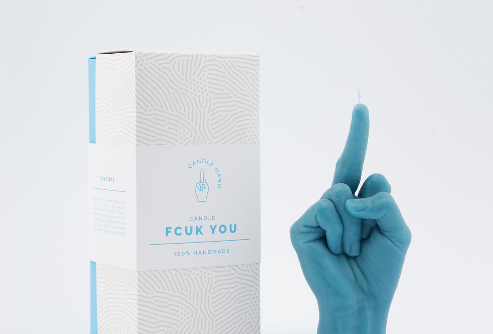 Candlehand blue f*ck you candle