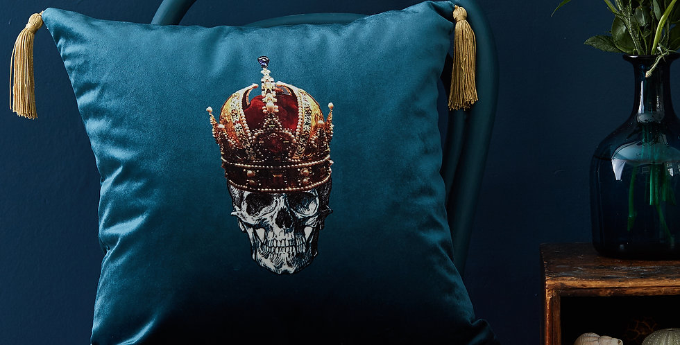 Melody Rose blue Skull cushion