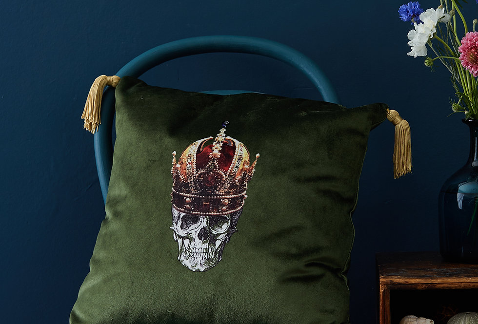 Melody Rose green Skull cushion