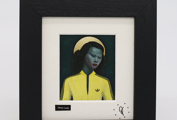 Ross Muir mini Green Lady with Yellow Top framed print