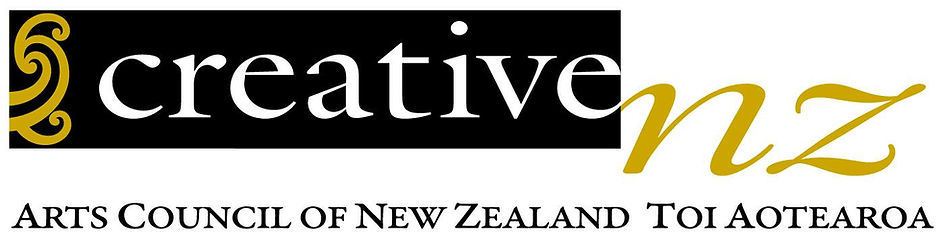 creative NZ, black and white picture with white and gold writing