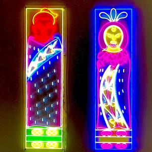 Neon pou lights- Urutengangana and Hine Turama