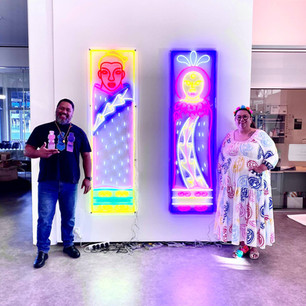 Lissy and Rudi with their neon pou lights