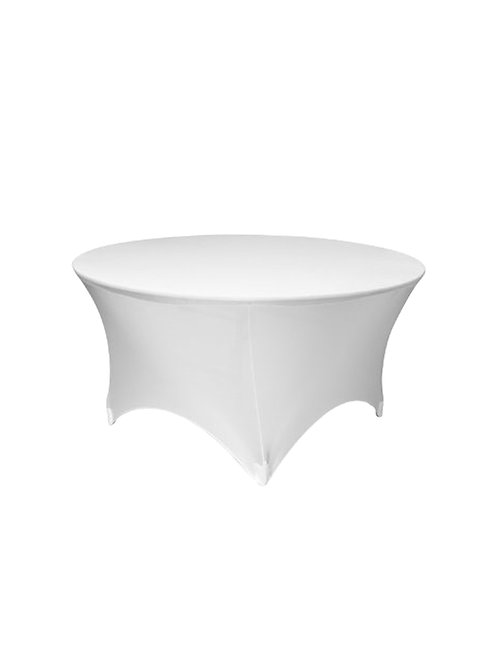WHITE ROUND STRETCH TABLE CLOTH