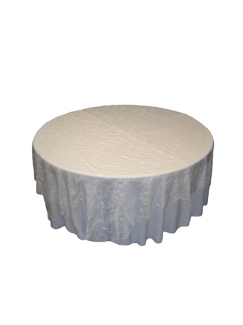 WHITE TWIRL EMBROIDRY TABLE CLOTH