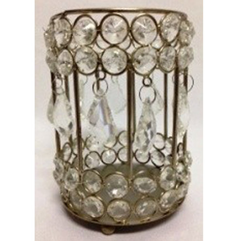 SILVER CRYSTAL ROUND CANDLEHOLDER