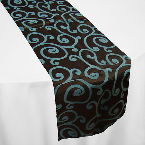 TURQUOISE & BROWN SCROLL RUNNER