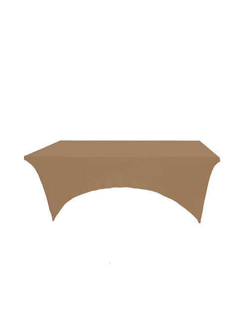 STONE BROWN RECTANGULAR STRETCH TABLE CLOTH