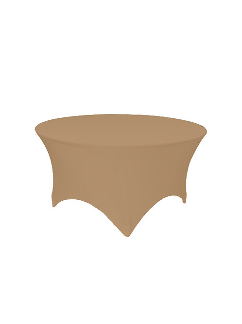STONE BROWN ROUND STRETCH TABLE CLOTH