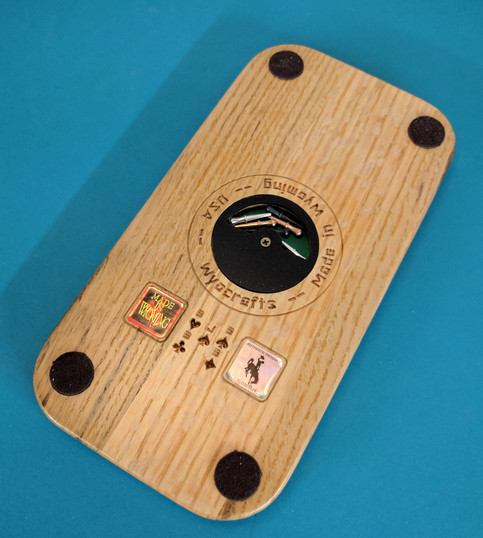 Back side to Wyoming Bucking 3-track Cribbage Board