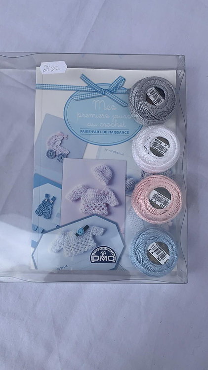 """Kit Crochet - Faire-part de naissance """"Mes premiers jours au crochet"""""""