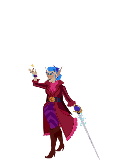 Art of Steve. Her rapier is in one hand, with electricity around it