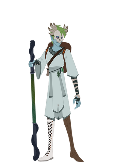 Art of Asher holding their staff